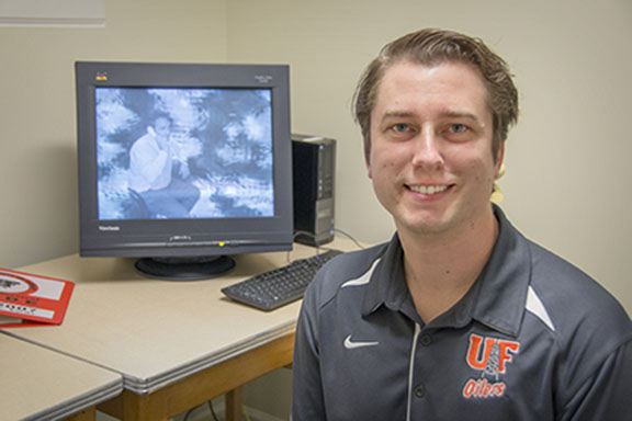 Psychology professor Adam Larson conducts research on visual cognition.