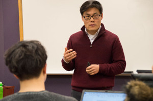 "Dr. Song-Chong Lee, Ph.D., in a ""Religions of China and Japan"" class. He is incorporating into this course some teaching techniques developed in his ""Islamic Traditions"" course."