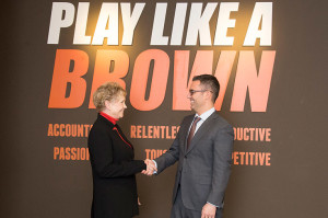 The University of Findlay's president, Katherine Fell, Ph.D., meets with Browns President Alec Scheiner when the two entities formed the educational partnership.