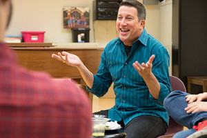 Phil Reno assists with conducting a master class for University of Findlay theater students in January 2014.