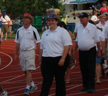 Mariah with officials in Parade of Athletes