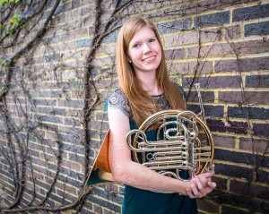 Meredith Kovener, senior French hornist and featured solo artist.