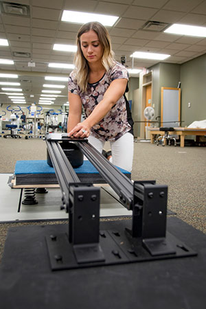 University of Findlay pre-physical therapy major participates in undergraduate research in biomechanics.