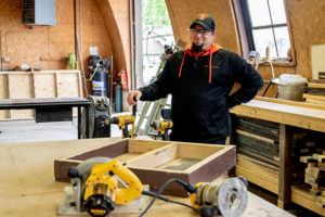 Stimmel in the shop where he and students create stage sets.