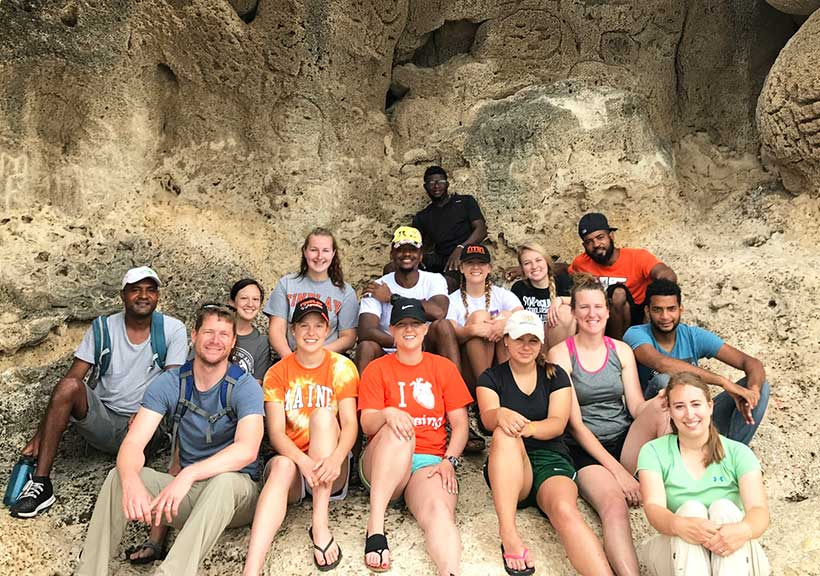 Brown poses with his fellow group members on his 2017 Oilers Serving Abroad trip to the Dominican Republic.